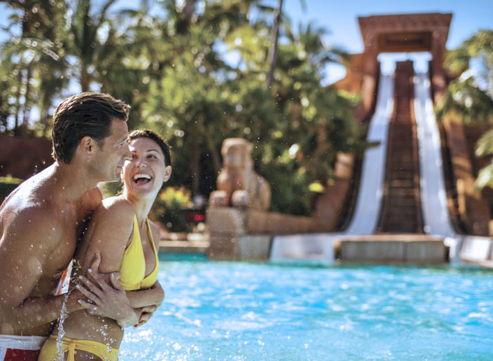 Couple in front of Mayan Temple waterslide