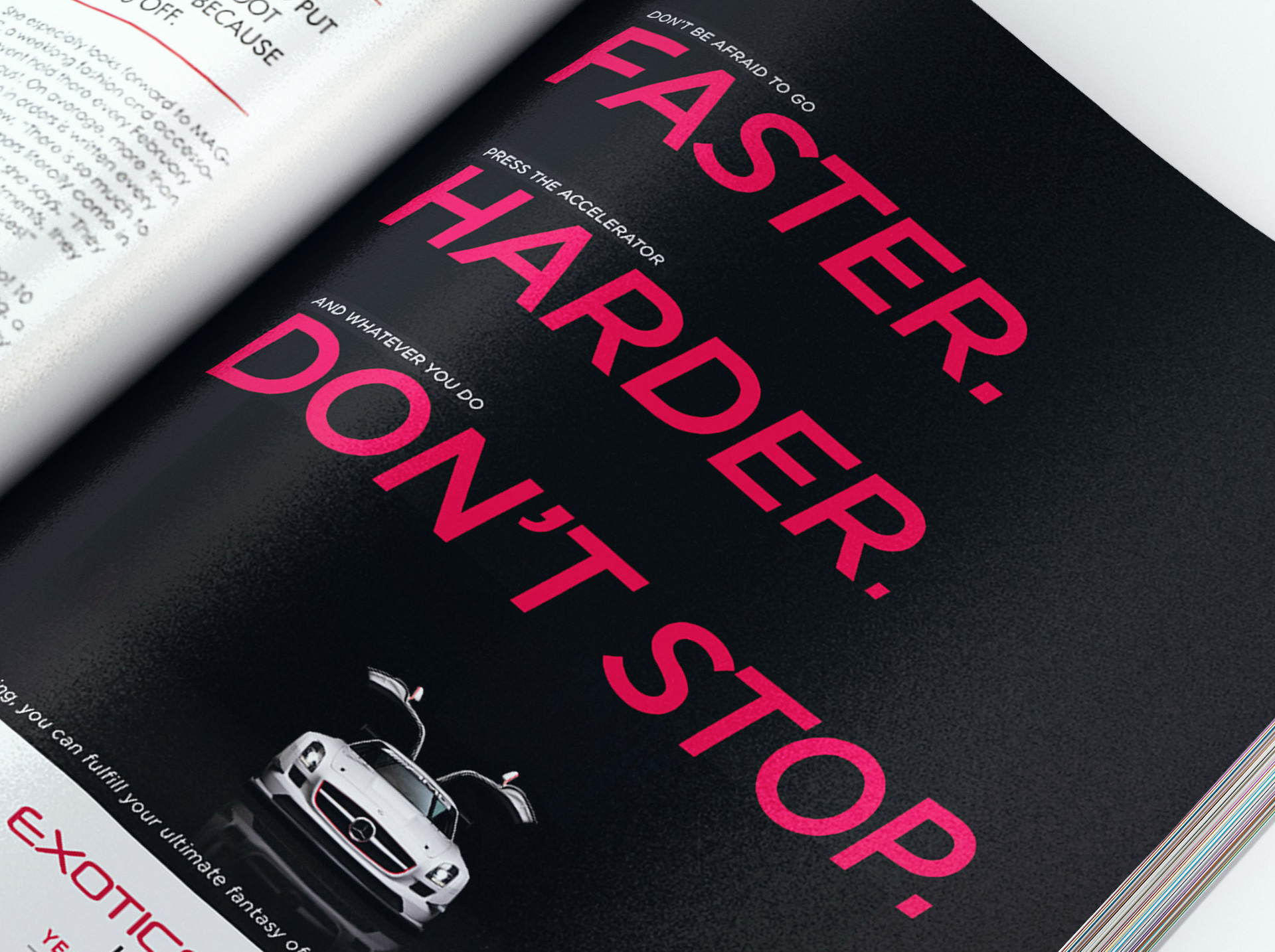 Magazine ad detail - faster