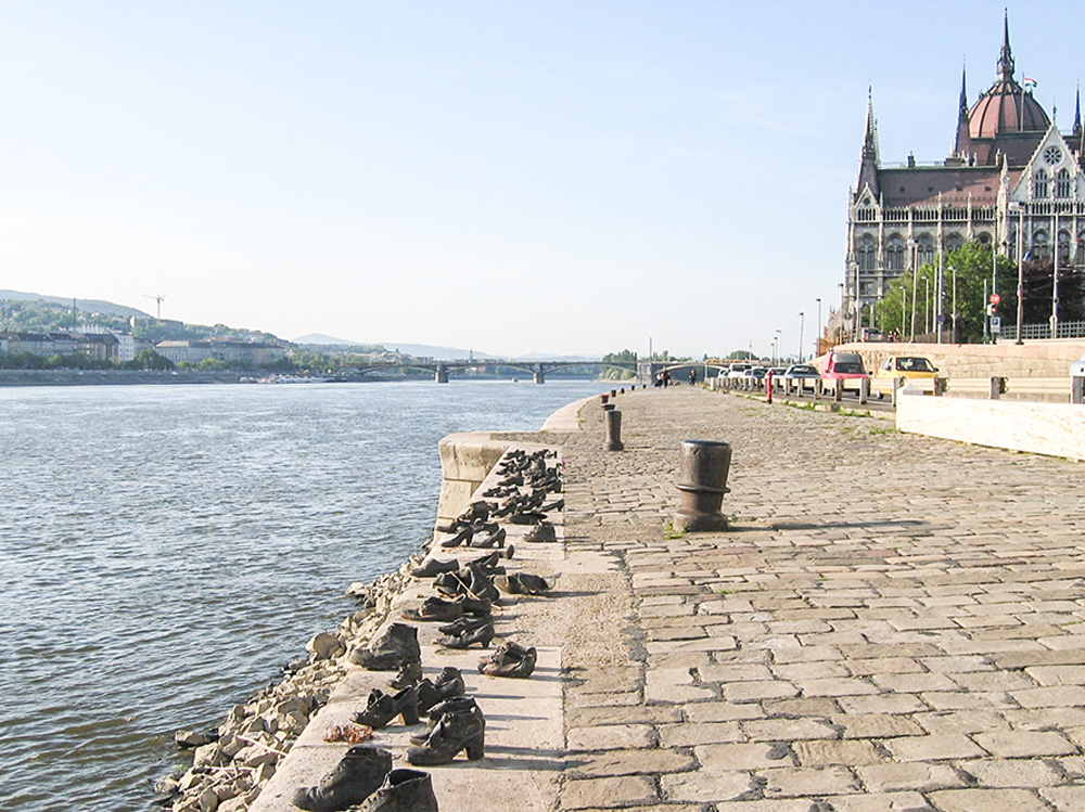 Memorial of shoes in Budapest, Hungary