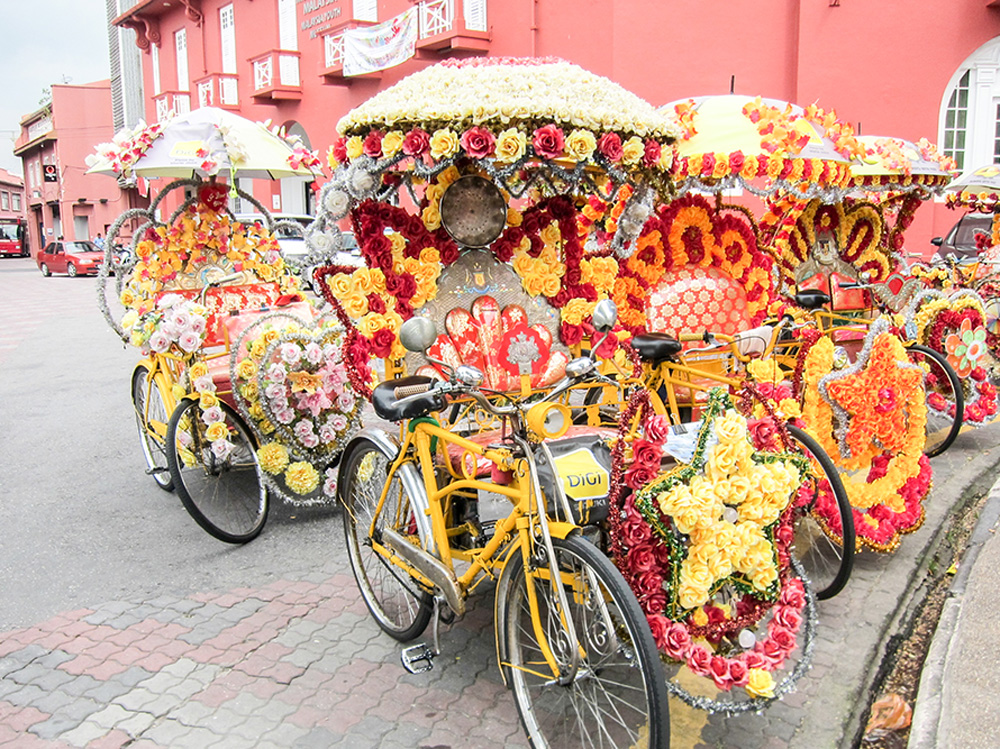 bicycle taxis in Melaka, Malaysia