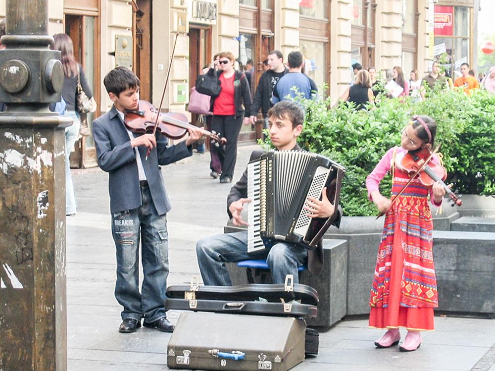 Street musicians in Belgrade, Serbia
