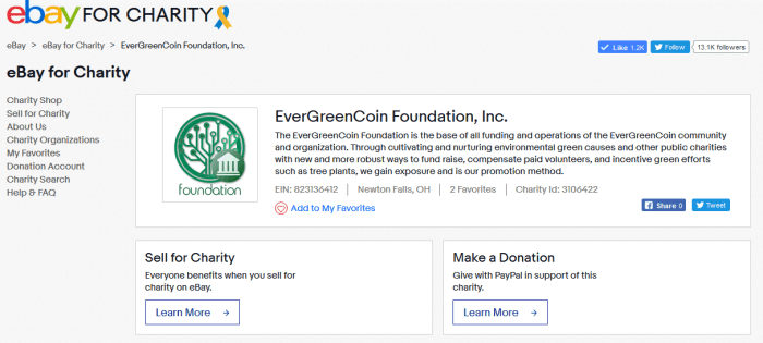 The EverGreenCoin Foundation, Inc. on eBay for Charity