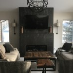 custom furniture room with black fireplace and couches