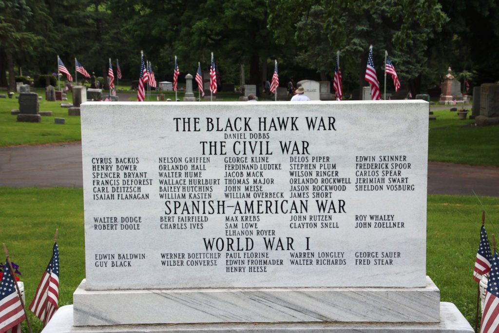 view of The War Memorial Marker from the west