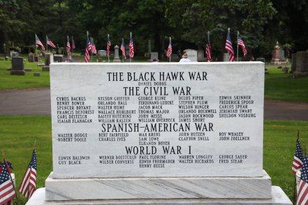 view of The War Memorial Marker rom the west