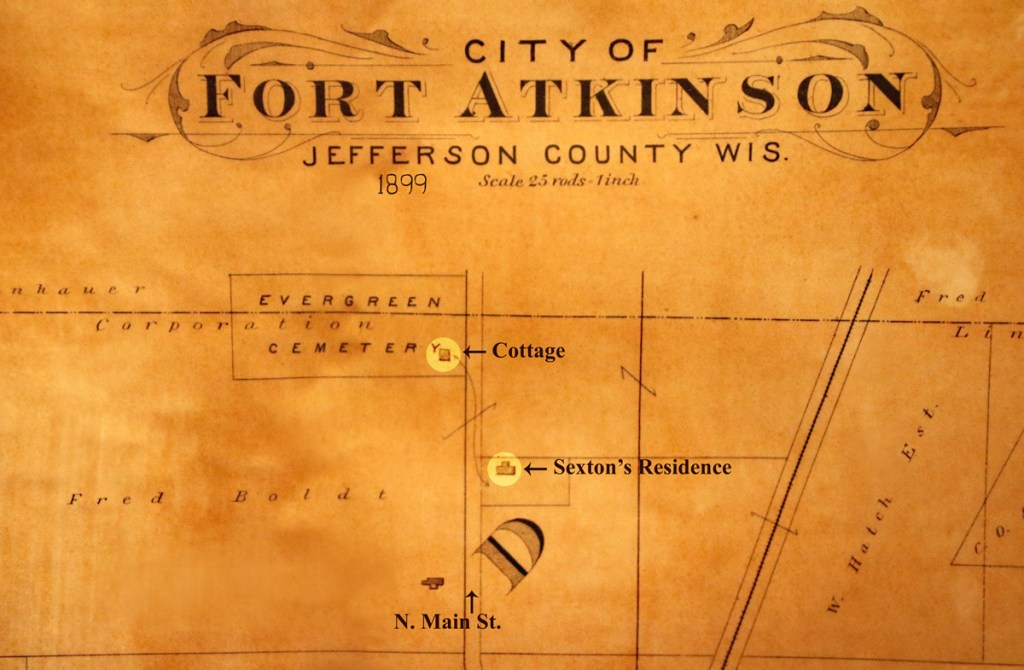 Map of the cemetery 1899 with cottage and Sexton's residence indicated
