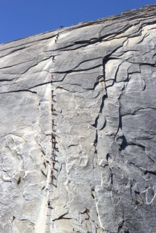 Hikers heading up Half Dome cables