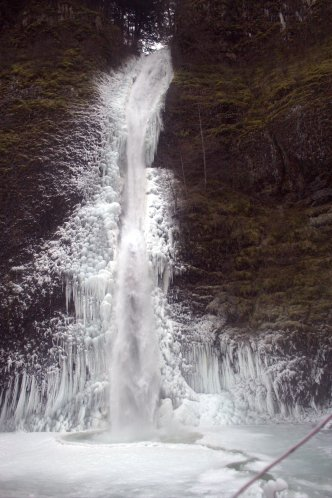Horsetail Falls covered in ice
