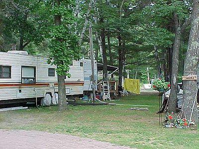Campsites at Evergreen Lodge on Woman Lake Longville Minnesota