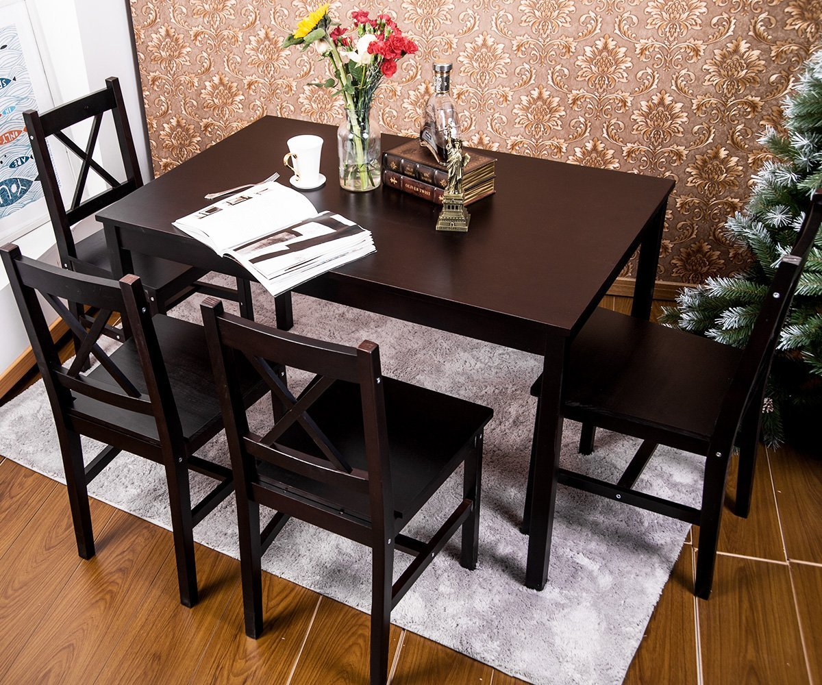 solid wood dining room table and chairs discounted accent merax 5 pc set 4 person