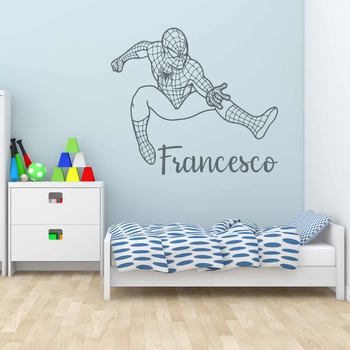 Cosa c'è di più bello di essere svegliati da un dolce cinguettio e dalle carezze della mamma? Spiderman Con Il Tuo Nome Evergreen Orange Adesivi Murali