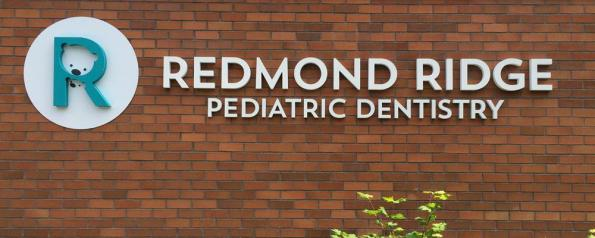 Custom lettering and adorable icon set a clean, professional tone for this pediatric dentist against a perfect building backdrop.