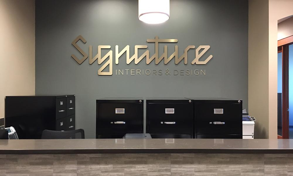 Unique custom letter fabrication for office reception.