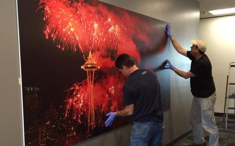Our corporate office client required multiple large printed panel installations in various locations at specified heights throughout their office environment.