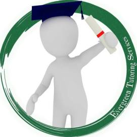 Evergreen Tutoring Services logo. Student holding a degree