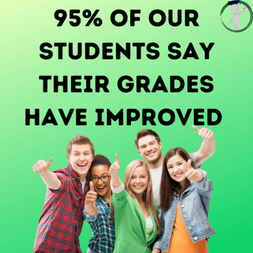 95% of our student say their grades have improved. Excited students with thumbs up.