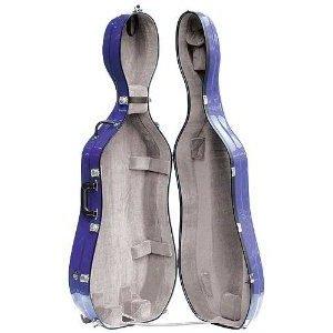 Bobelock 2000W Fiberglass Blue/Gray 4/4 Cello Case with Wheels