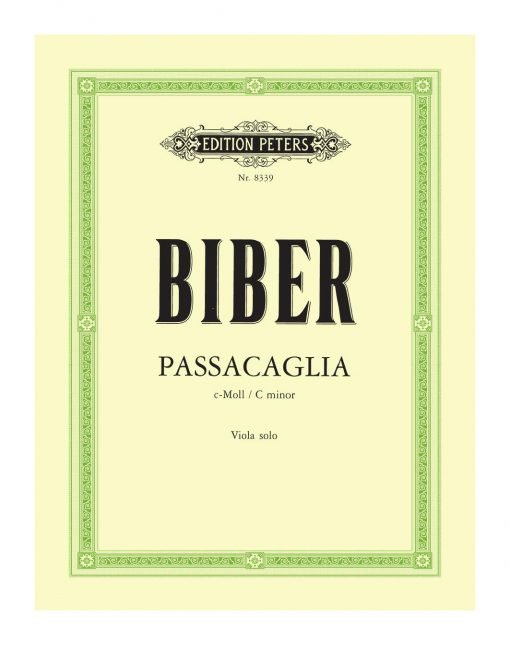 Heinrich Biber Passacaglia in C Minor Viola Solo 8339 Edition Peters