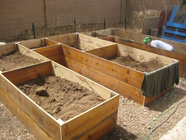 how to build a raised bed using reclaimed materials