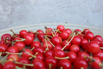 plate of sour cherries