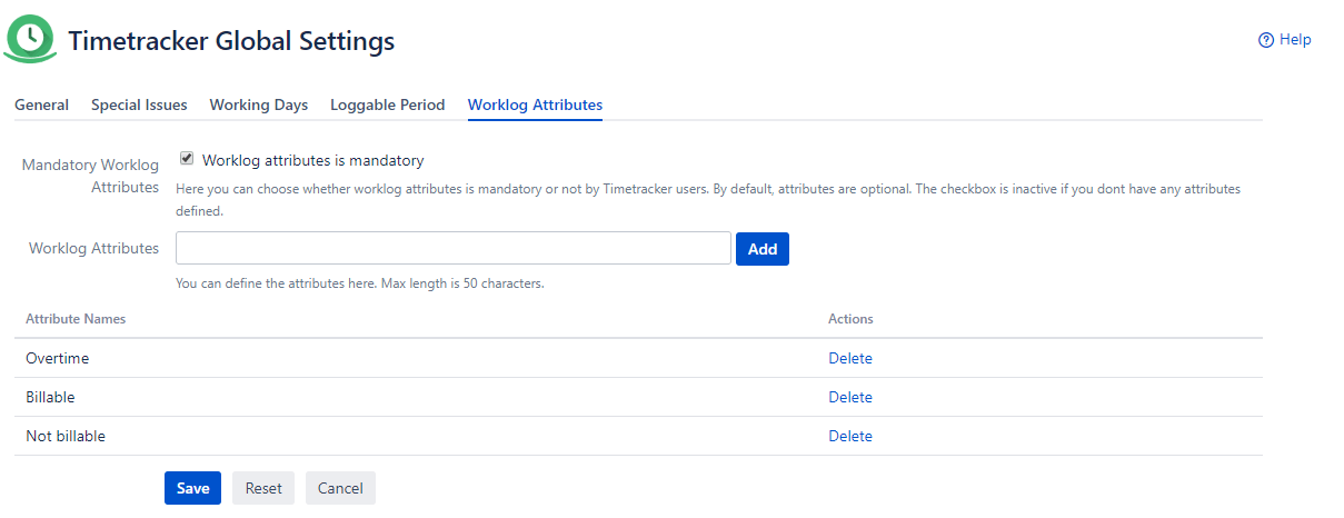 Settings of Timetracker Worklog Attributes