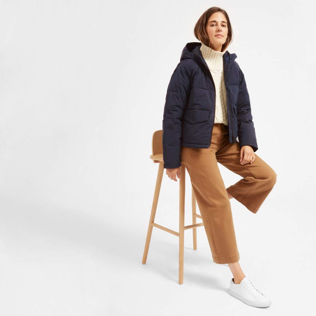 A short puffy coat from Everlane. 125.00 dollars.