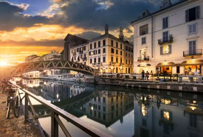 Milan's Navigli neighbourhood by the canal at sunset