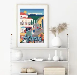 Colourful illustration of Athens framed and sitting on a shelf surrounded by vases