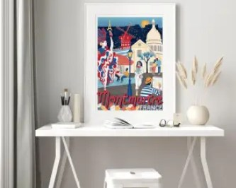 Colourful illustration of Montmartre sitting in a frame on top of a desk