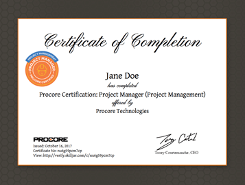 Procore Certification Project Manager Project Management