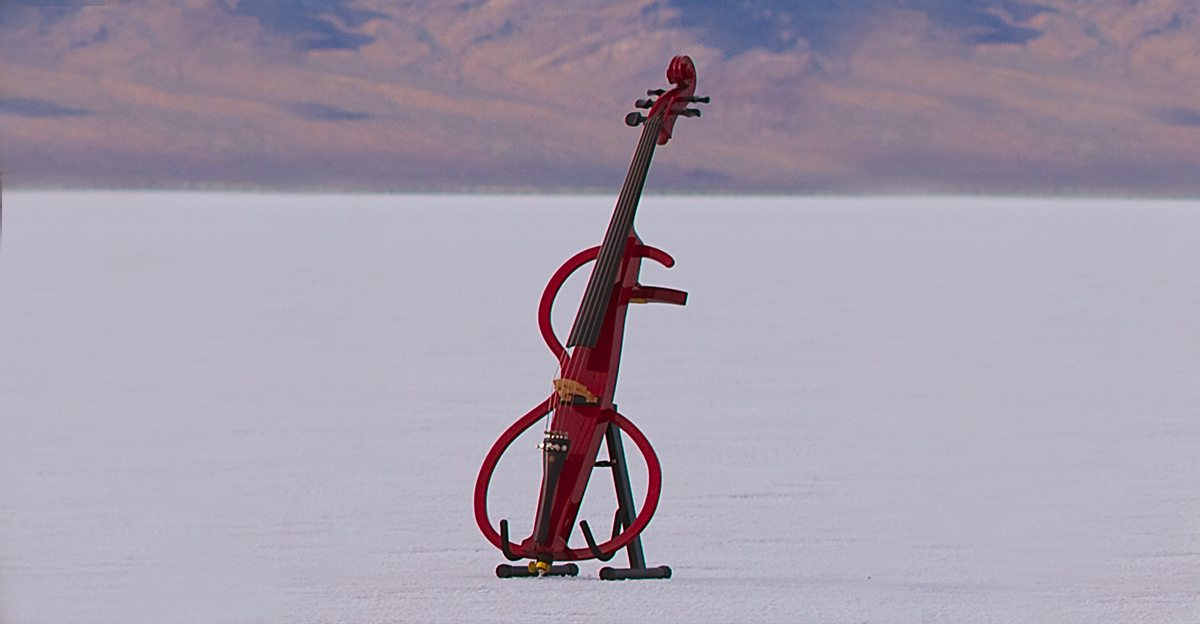 Image: Modern sculptural cello used to play the cello song by the piano guys
