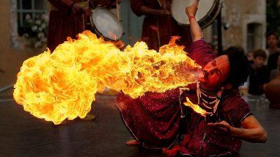 Image: Man breathing fire