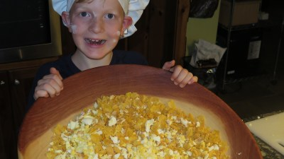 Image: little boy with big bowl