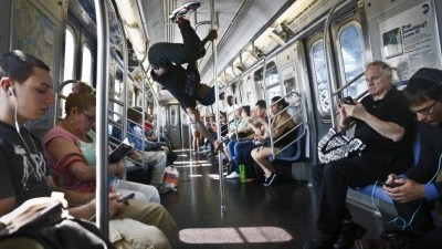Image: Subway Acrobat mid-performance