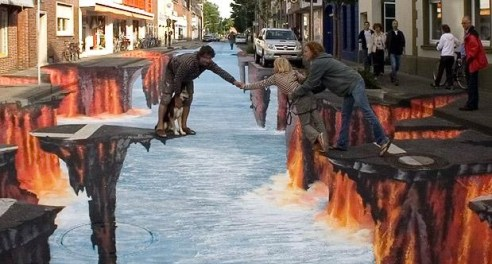 Image: Optical Illusion painted onto the street. It makes the street look like tiny platforms just above a deep pool of water