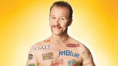 Image: Morgan Spurlock covered in advertising