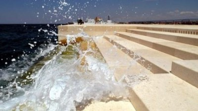 Sea organ with crashing wave