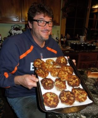 Image: Dr. Chuck with a platter of Thanksgiving leftover Fritters