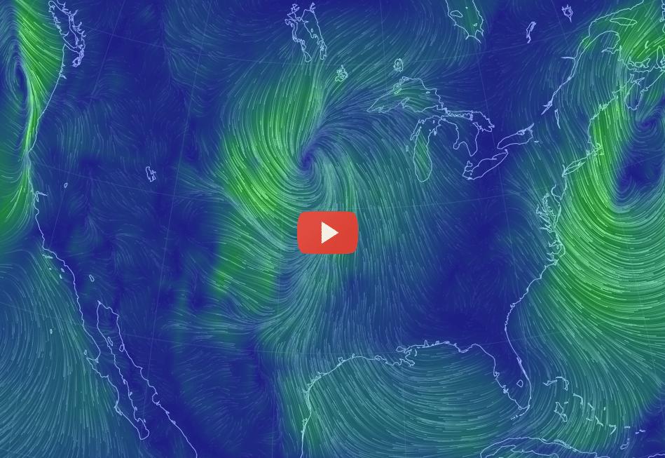 Image: Wind patterns above the U.S. via earth.nullschool.net