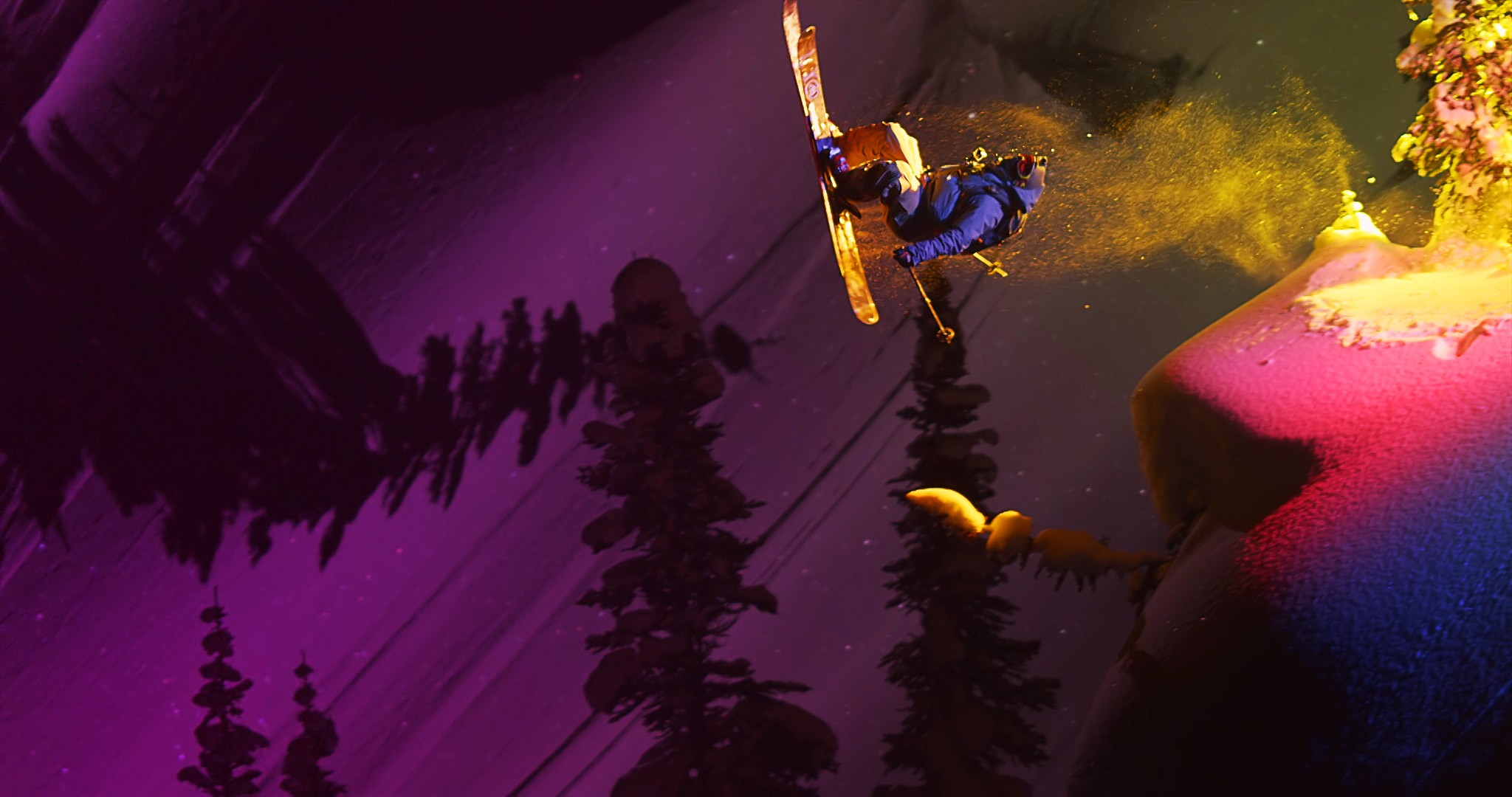 Sweetgrass Productions: Afterglow Skiing Movie, Skier Jumping Off of A Cliff Lit With Vibrant Color