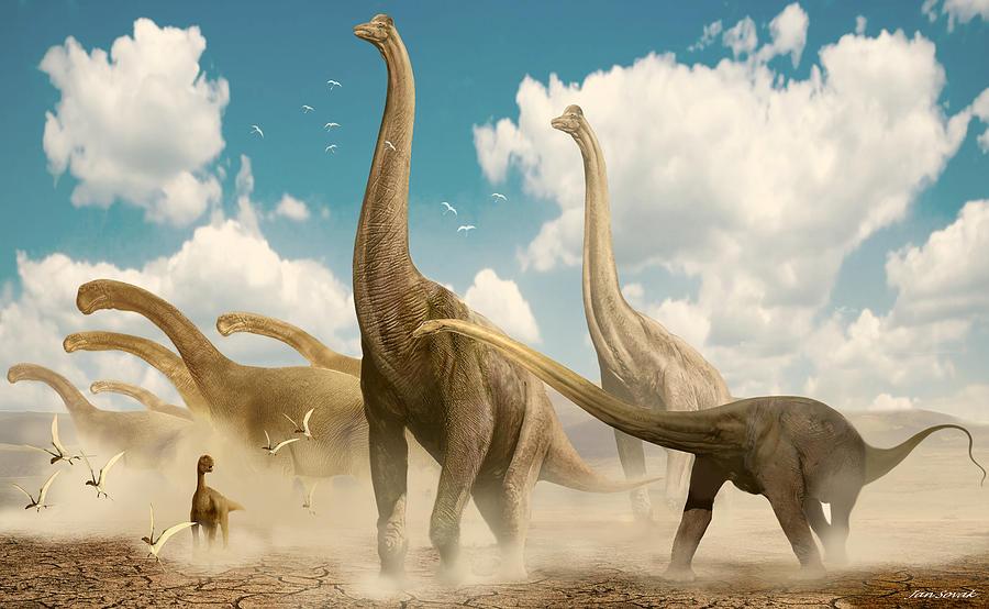 brachiosaurus herd illustration