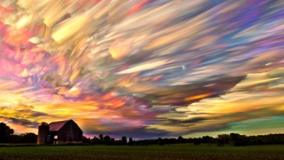 Image: Farm with colorful sky