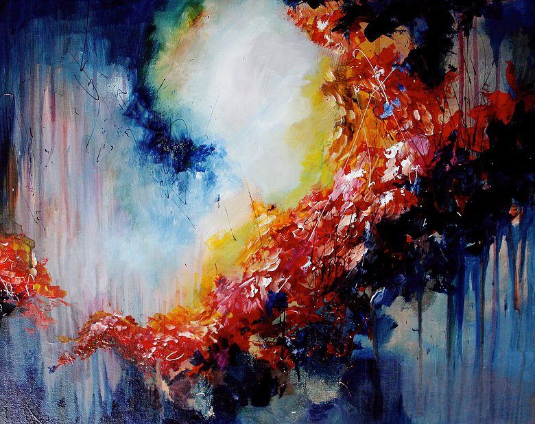Melissa McCraken Painting, a swirl of colors moving around the canvas