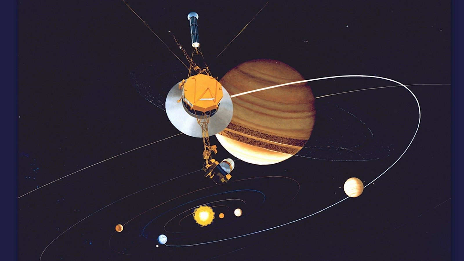Image: Voyager mission and space probe within our solar system