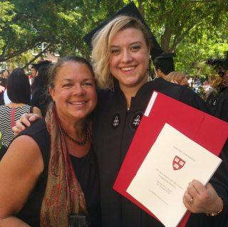 Image: Liesl and Dr. Lynda at Harvard Graduation before Liesl joined Ever Widening Circles