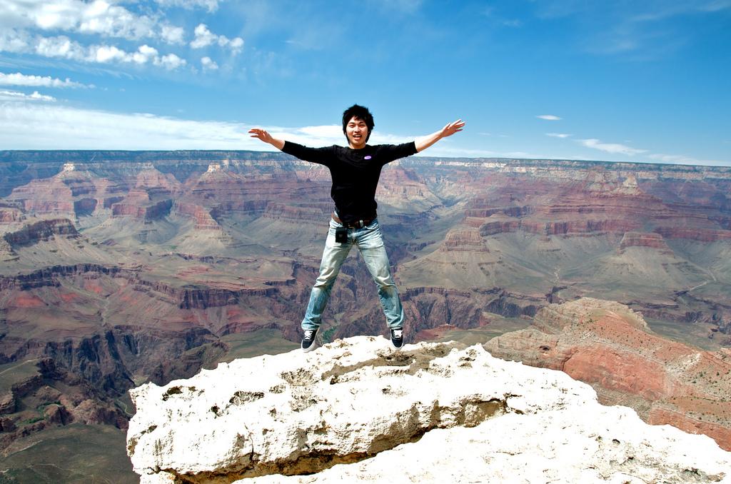 Image: A risky jump near a cliff