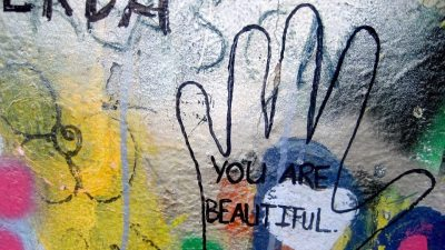 "Image: Graffiti that says, ""You are Beautiful"""