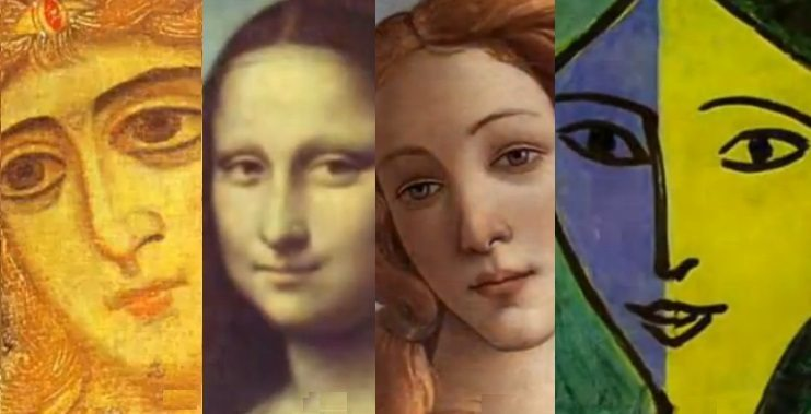 Image: A digital compilaiton of women in art over 500 years
