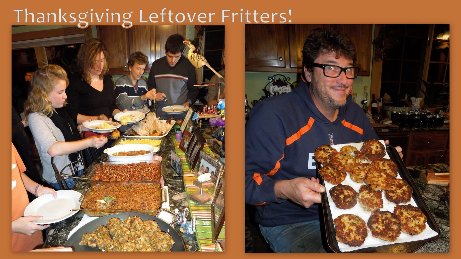 Image: Thanksgiving meal laid out and then fritter photo