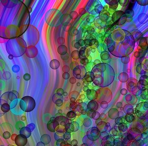 Image: soap bubbles in a colorful stream